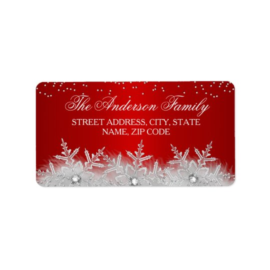crystal snowflake red christmas address labels zazzle com