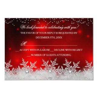 Crystal Snowflake Red Christmas Party RSVP Card