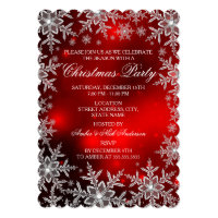 Crystal Snowflake Red Christmas Party Scall Card