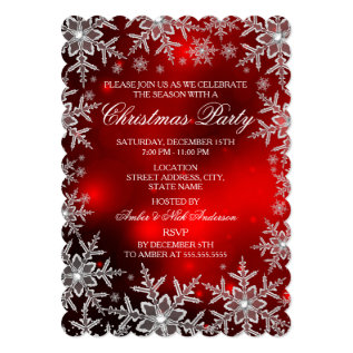 Crystal Snowflake Red Christmas Party Scall Card at Zazzle