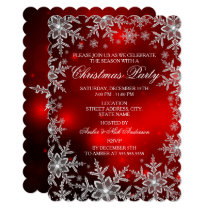 Crystal Snowflake Red Christmas Party Scall Invitation