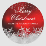"""Crystal Snowflake Red Christmas Sticker<br><div class=""""desc"""">Christmas Holiday Sticker. Elegant sparkle crystal snowflakes. Please Note: All flat images!</div>"""