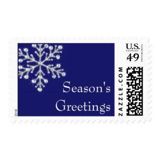 Crystal Snowflake Season's Greetings Stamp (blue)