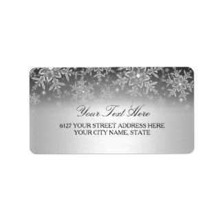 Crystal Snowflake Silver Winter Address Label
