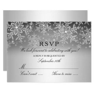 Crystal Snowflake Silver Winter RSVP Card