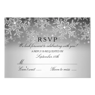Crystal Snowflake Silver Winter RSVP Customized Announcement Cards