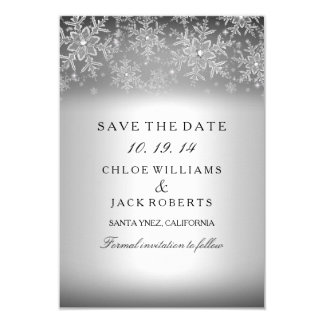 Crystal Snowflake Silver Winter Save The Date 3.5x5 Paper Invitation Card