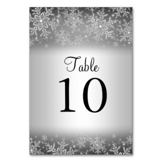 Crystal Snowflake Silver Winter Table Number Card