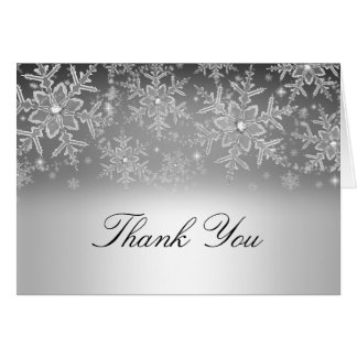 Crystal Snowflake Silver Winter Thank You Card