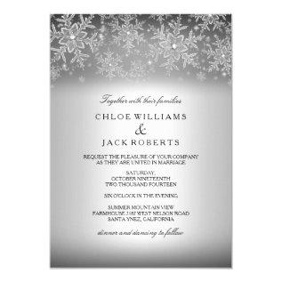 Crystal Snowflake Silver Winter Wedding Invitation at Zazzle
