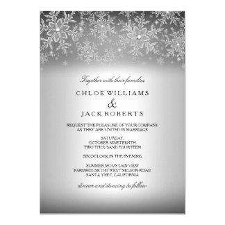 Attractive Crystal Snowflake Silver Winter Wedding Invitation