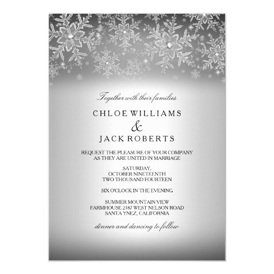 crystal snowflake silver winter wedding invitation - Pictures Of Wedding Invitations