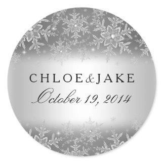 Crystal Snowflake Silver Winter Wedding Sticker