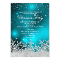 Crystal Snowflake Teal Christmas Party Invite