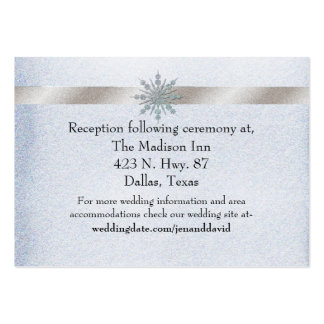 Crystal Snowflake Winter Wedding Enclosure Card Large Business Cards (Pack Of 100)