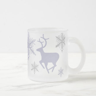 Crystal Snowflakes and Deer Frosted Glass Coffee Mug