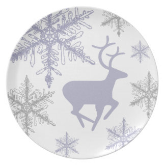 Crystal Snowflakes and Deer Melamine Plate