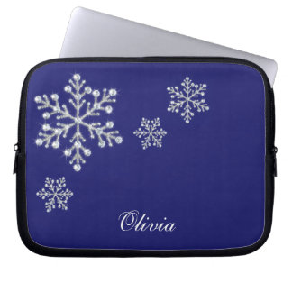 Crystal Snowflakes Blue Laptop Sleeve