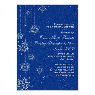 Crystal snowflakes blue wedding bridal shower card