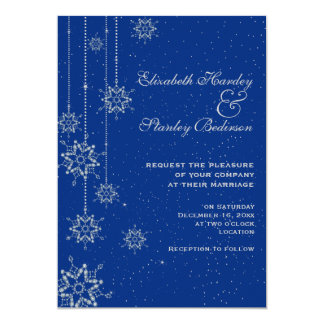 Crystal snowflakes blue wedding personalized invite