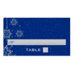 Crystal snowflakes blue wedding place card
