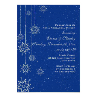 Crystal snowflakes blue wedding rehearsal dinner invitation