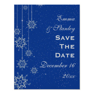 Crystal snowflakes blue wedding Save the Date Announcements