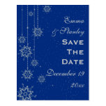 Crystal snowflakes blue wedding Save the Date Post Cards