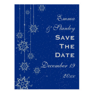 Crystal snowflakes blue wedding Save the Date Postcard