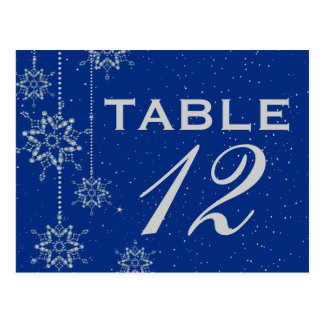 Crystal snowflakes blue wedding table number postcard