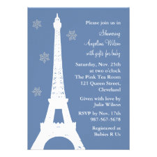 Crystal Snowflakes in Paris (blue) Personalized Announcement