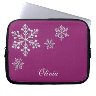 Crystal Snowflakes Magenta Laptop Sleeve
