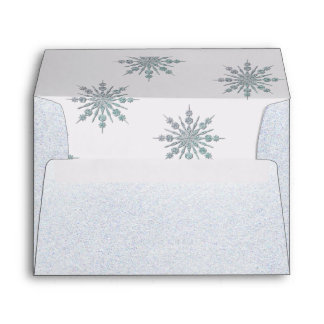Crystal Snowflakes Winter Wedding Custom Envelope