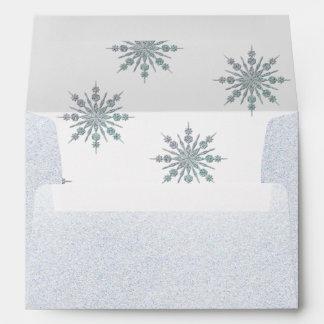 Crystal Snowflakes Winter Wedding Custom Envelope