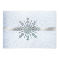 Crystal Snowflakes Winter Wedding RSVP 3.5x5 Paper Invitation Card at Zazzle