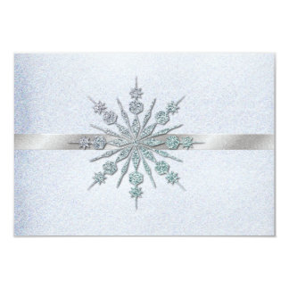 Crystal Snowflakes Winter Wedding RSVP 3.5x5 Paper Invitation Card