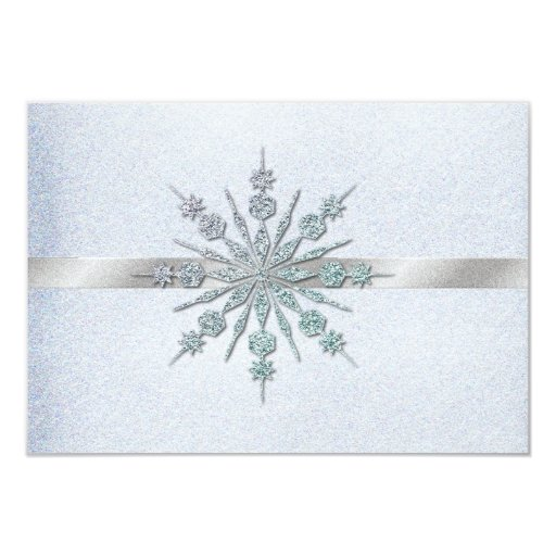 Crystal Snowflakes Winter Wedding RSVP 3.5x5 Paper Invitation Card
