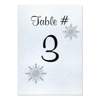 Crystal Snowflakes Winter Wedding Table Number Card