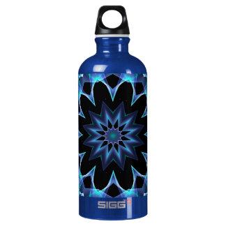 Crystal Star, Abstract Glowing Blue Mandala Aluminum Water Bottle