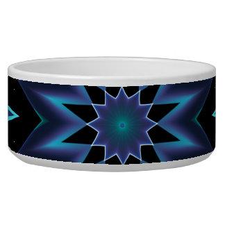 Crystal Star, Abstract Glowing Blue Mandala Bowl