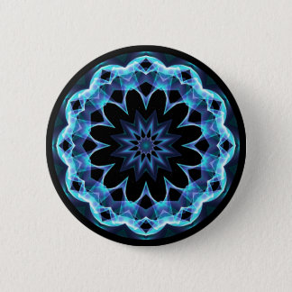 Crystal Star, Abstract Glowing Blue Mandala Button