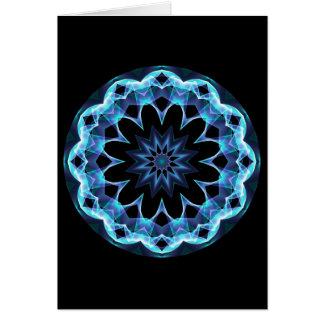 Crystal Star, Abstract Glowing Blue Mandala Card