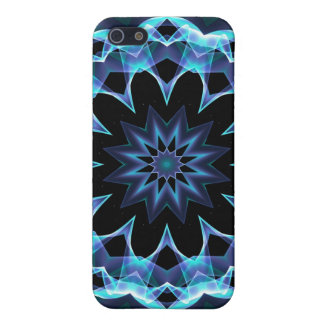 Crystal Star, Abstract Glowing Blue Mandala Case For iPhone SE/5/5s