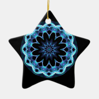Crystal Star, Abstract Glowing Blue Mandala Ceramic Ornament