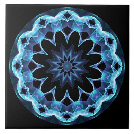 Crystal Star, Abstract Glowing Blue Mandala Ceramic Tile