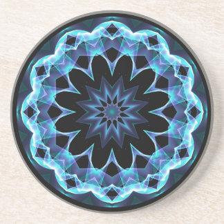 Crystal Star, Abstract Glowing Blue Mandala Coaster