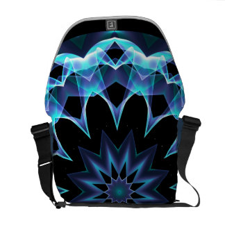 Crystal Star, Abstract Glowing Blue Mandala Courier Bag