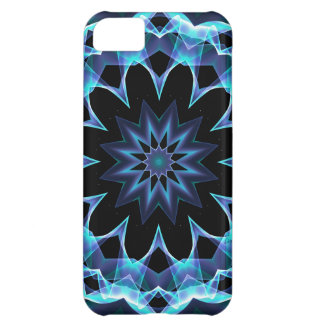 Crystal Star, Abstract Glowing Blue Mandala Cover For iPhone 5C