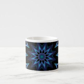 Crystal Star, Abstract Glowing Blue Mandala Espresso Cup