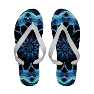 Crystal Star, Abstract Glowing Blue Mandala Flip Flops
